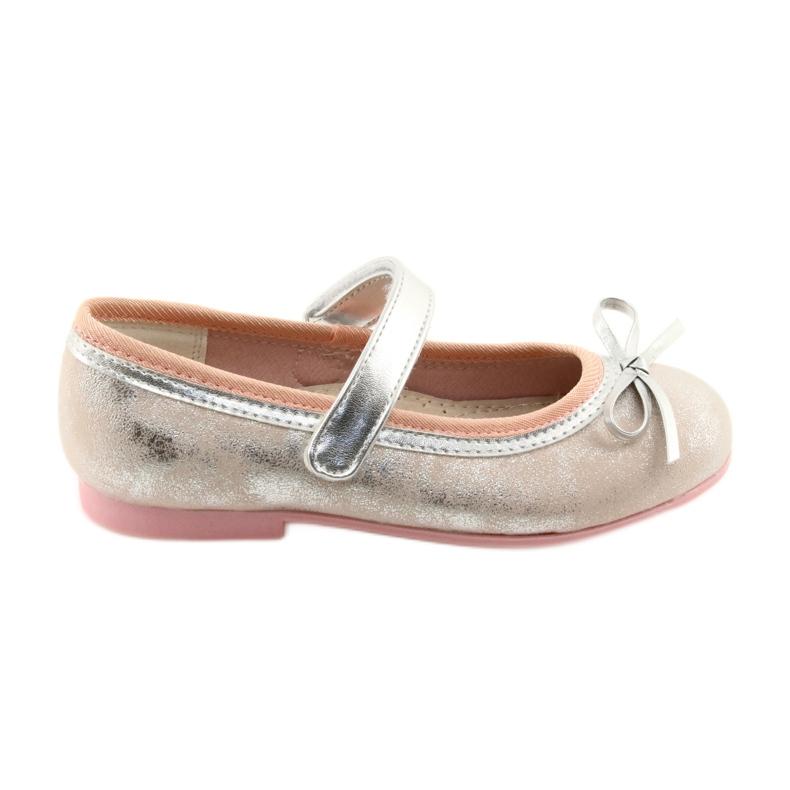 Ballerina's met boog van American Club GC18 grijs roze