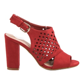 Seastar Opengewerkte, opgebouwde sandalen rood