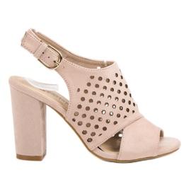 Seastar roze Opengewerkte, opgebouwde sandalen