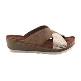 KOMFORT INBLU GX006 bruine / gouden pantoffels