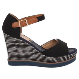 Sandalen, sleehakken, zwart 9079 Zwart