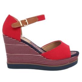 Sandalen op sleehakken rood 9079 Rood