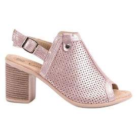 Filippo Leren sandalen met leer roze