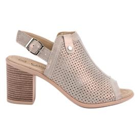 Filippo Leren sandalen met leer grijs
