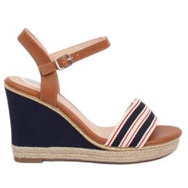 Sandalen op de wig blauwe marine 9068 Blauw