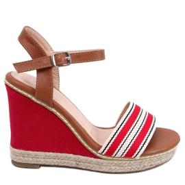 Sandalen op sleehakken rood 9068 Rood