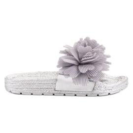 Seastar Grijze pantoffels met bloemen grijs