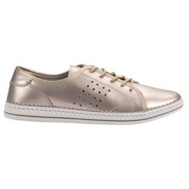 Kylie Leren schoenen met veterschoenen geel