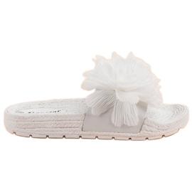 Seastar Witte slippers met bloemen