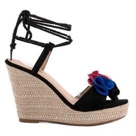 Seastar zwart Vastgebonden sandalen op wedge