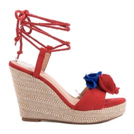 Seastar rood Vastgebonden sandalen op wedge