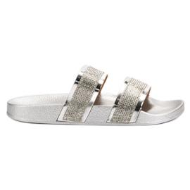 Seastar Zilveren slippers met kristallen grijs