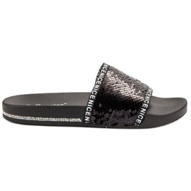 Seastar Pailletten flip flops zwart
