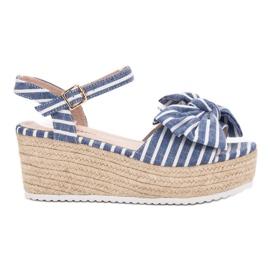 Seastar Wedge sandalen met strik blauw