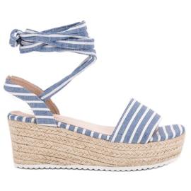Seastar blauw Sandalen met wiggen
