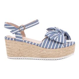 Seastar blauw Wedge sandalen met strik