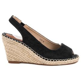Seastar zwart Sandalen op sleehak
