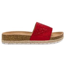 Seastar rood Rode pantoffels met zirkonen