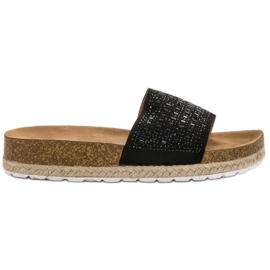 Seastar Zwarte pantoffels met zirkonen