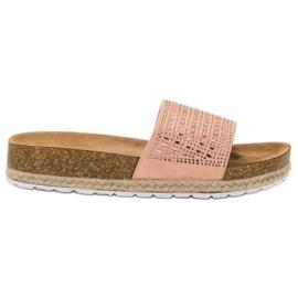 Seastar Roze pantoffels met zirkonen