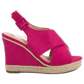 Anesia Paris roze Suede sandalen op wedge