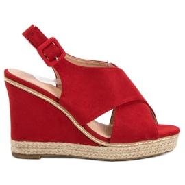 Anesia Paris rood Suede sandalen op wedge