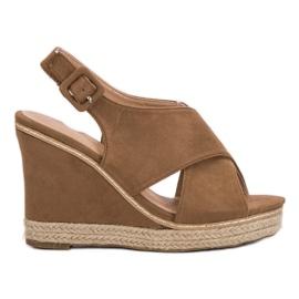Anesia Paris bruin Suede sandalen op wedge