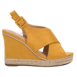 Anesia Paris geel Suede sandalen op wedge