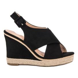 Anesia Paris zwart Suede sandalen op wedge