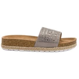 Seastar grijs Grijze pantoffels met zirkonen