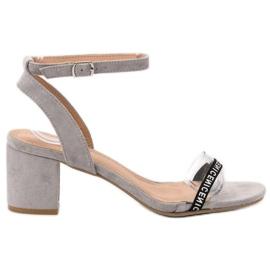 Ideal Shoes grijs Stijlvolle Suède sandalen
