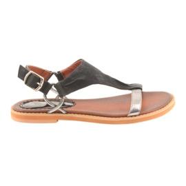 Sandalen met platte hak Daszyński zilver zwart