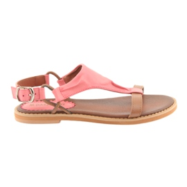 Sandalen met platte hak Daszyński Living Coral