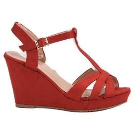 SHELOVET Suède sandalen rood