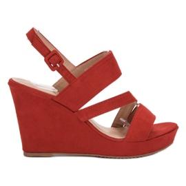 SHELOVET rood Sandalen op sleehak