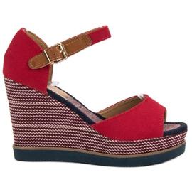 Primavera rood Sandalen op sleehak