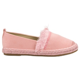 Lily Shoes roze Espadrilles met franjes