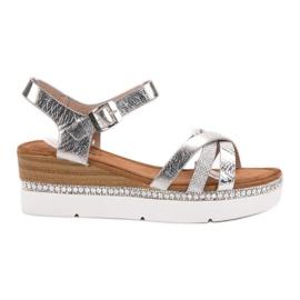 Seastar grijs Modieuze sandalen met zirkonen