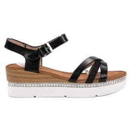 Seastar Modieuze sandalen met zirkonen zwart