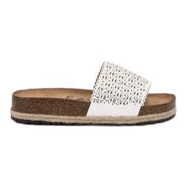 Goodin Opengewerkte slippers wit