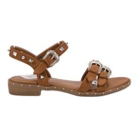 Small Swan bruin Camel sandalen met studs