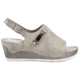 Goodin grijs Comfortabele sandalen met sleehak
