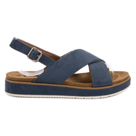 Goodin blauw Suède sandalen