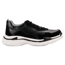 Goodin Zwart lederen sneakers