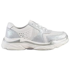 Goodin Leren sneakers met brocade wit