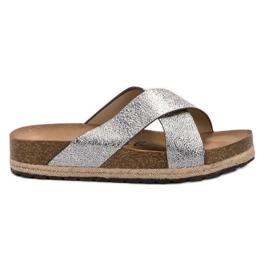 Goodin Comfortabele zilveren slippers grijs