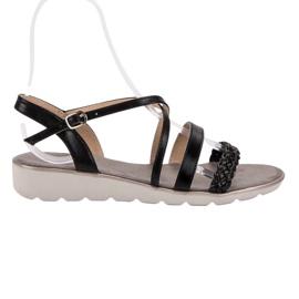 Kylie Zwarte sandalen op het platform