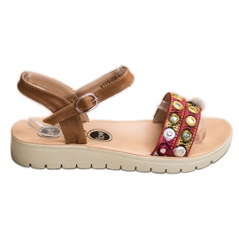 SHELOVET Casual sandalen bruin