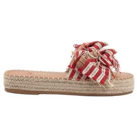 Seastar rood Slippers met riemen