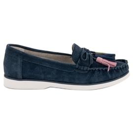 Filippo blauw Leren loafers met franjes
